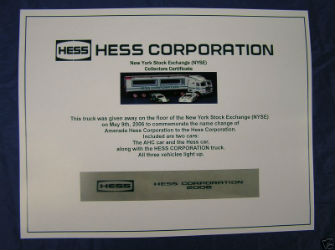 Hess Corporation NYSE Collectors Certificate