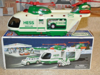 2001 Hess helicopter with motorcycle and cruiser value