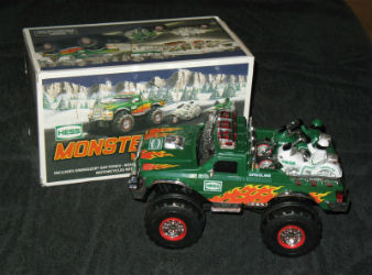 Hess monster truck with motorcycles