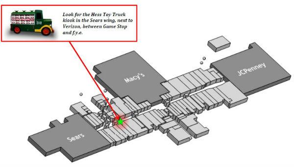 Hess Toy Truck kiosk Capital City Mall