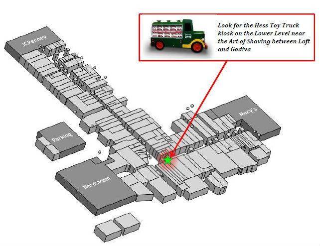 Hess Toy Truck kiosk Cherry Hill Mall