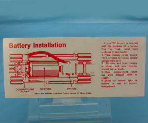 Hard to find Hess battery installation cards and inserts