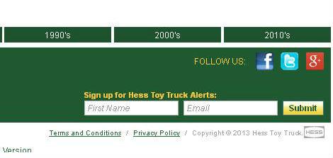 Sign up at hesstoytruck.com for alerts