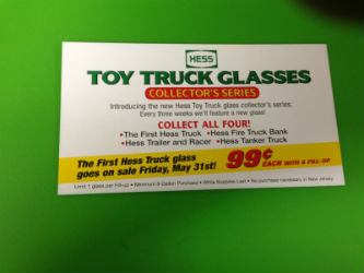 Hess toy truck glasses collectors inserts