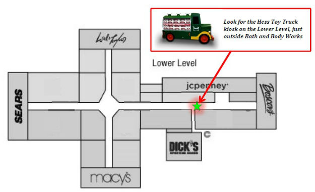 Hess Toy Truck kiosk Woodbridge Center Mall